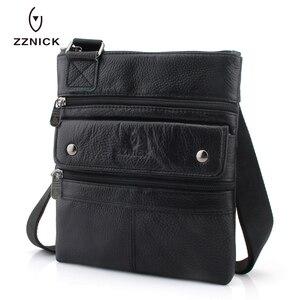 Image 4 - Zznic bolsa masculina de couro legítimo, bolsa masculina de tamanho pequeno em couro legítimo, modelo carteiro com alça carteiro, ideal para viagens, 2020 bolsas de mão