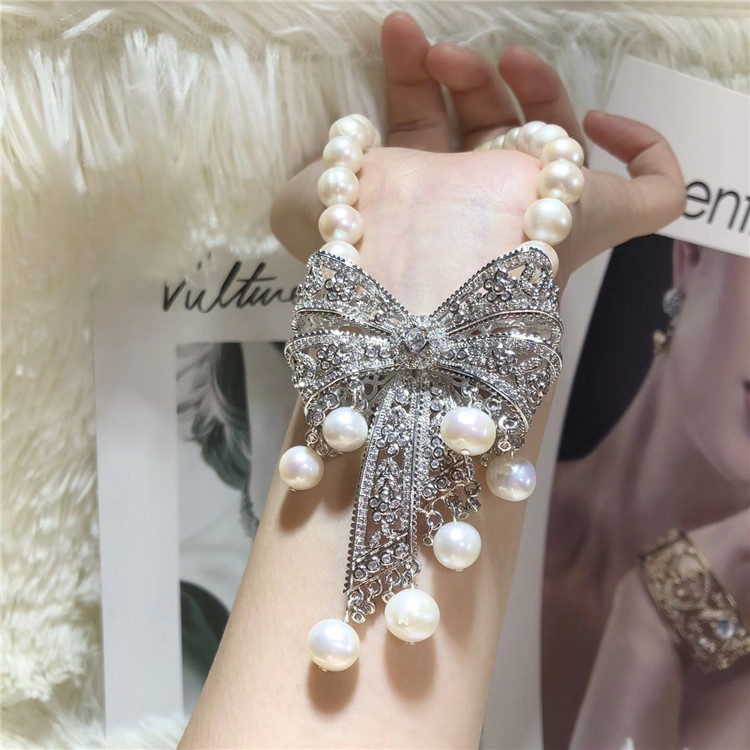 Mano anudada 9 10mm blanco natural perla de agua dulce bowknot micro incrustaciones zircon collar joyería de moda-in Collares de cadena from Joyería y accesorios    3