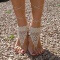 Crochet Barefoot Sandálias, Tan sandálias Com Os Pés Descalços na Praia, Piscina, sapatos Nude, jóias Pé Tornozeleiras