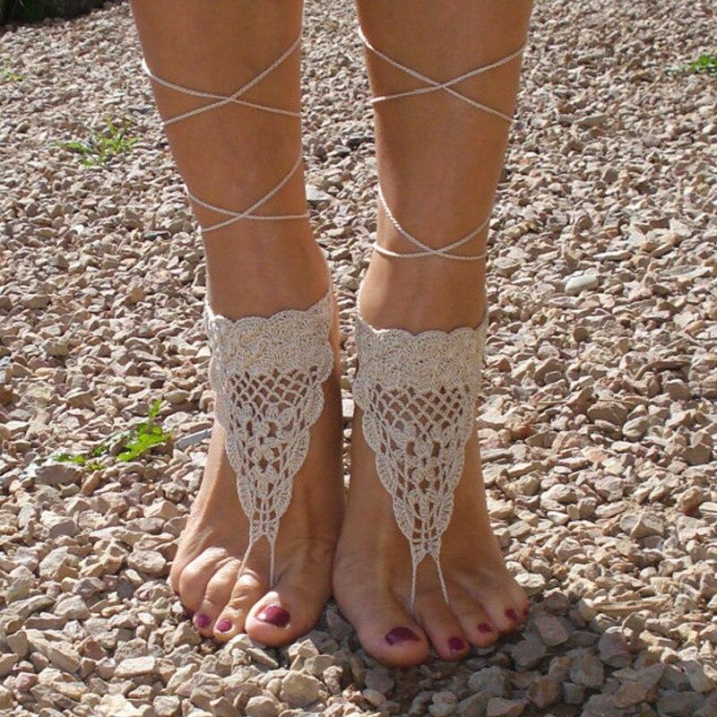 Crochet Las Sandalias Descalzas, bronceado Descalzo sandalias, Playa ...