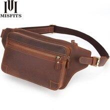 Misfits bolsa de cintura masculina, bolsa de couro legítimo 100%, casual, multi função bolsa de mensageiro