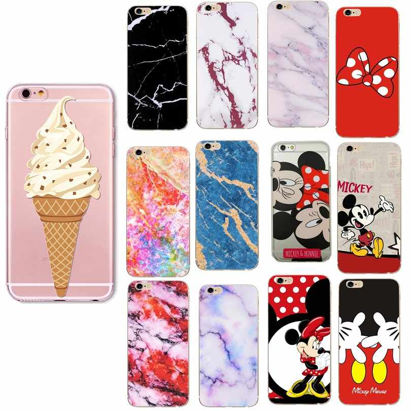Funda para iPhone 7 8 Plus 6 6 s Plus X XS funda de mármol Minnie Mickey dibujos animados suave TPU funda protectora para Iphone 5 5S SE Capa