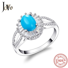 JOVO Fashion  Sterling Silver 925 jewelry Rings For Women bands Zirconia Prong Setting romantic ladies gift Fine Jewelry