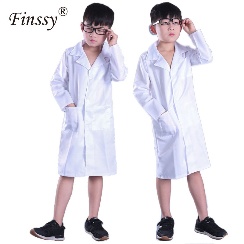 Doctor Cosplay Costume for Boys Girls Long Sleeves Doctor Unisex Halleween Costume for Kids Play Clothing Lab Coat