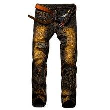 Ретро мужские джинсы мотоцикл отверстие джинсы мужчин slim fit проблемные hip hop джинсовые бегунов клуб прохладный мужской новинка жан брюки