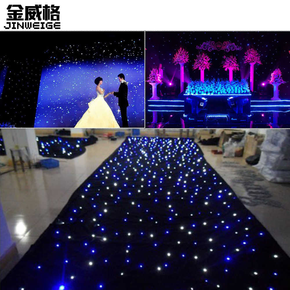 Free Shipping 15pcs/lot BW/White Leds LED Star Curtain Backdrop Cloth Stage Background For Wedding