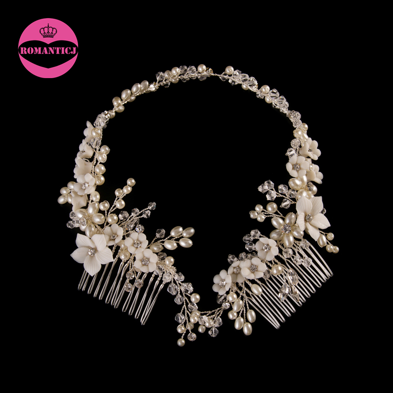 Latest Flower Long Hair Combs Handmade Clay Flowers Hair Accessories Pearl Crystal Bridal Headband For Wedding Day bridal flower headband garland artificial wedding bouquets fabric flowers hair accessories flores decorations casamento wigo0880