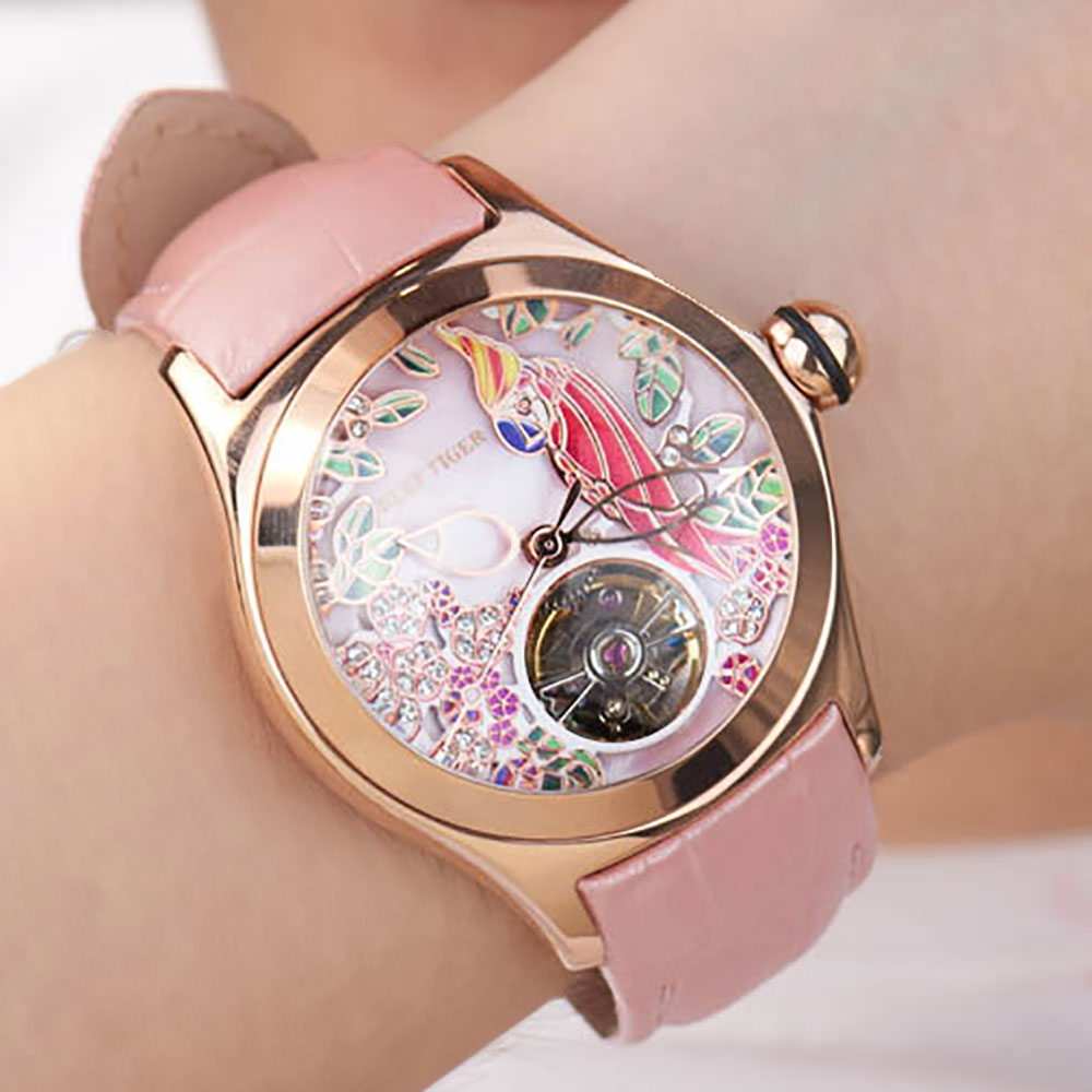 Image 2 - Reef Tiger Top Brand Luxury Women Watches Pink Dial Leather Strap Mechanical Watch Rose Gold Fashion Watch reloj mujer RGA7105Womens Watches   -