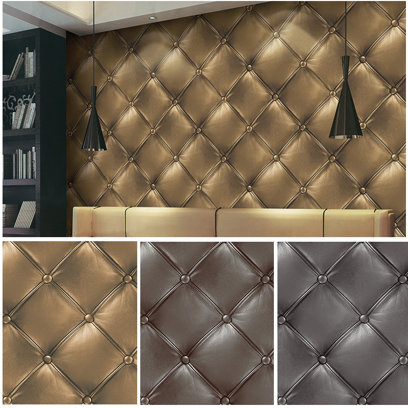 Haokhome 3d vinyl faux leather textured wallpaper for Papel pintado marron chocolate