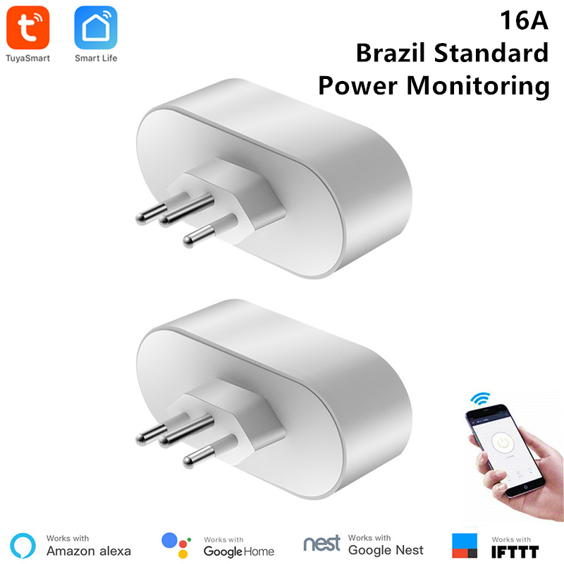 2 Pcs Brazilian WiFi Socket Smart Life APP Remote Control Brazil Standard Smart Outlet 16A Power Monitor Timer Google Compatible