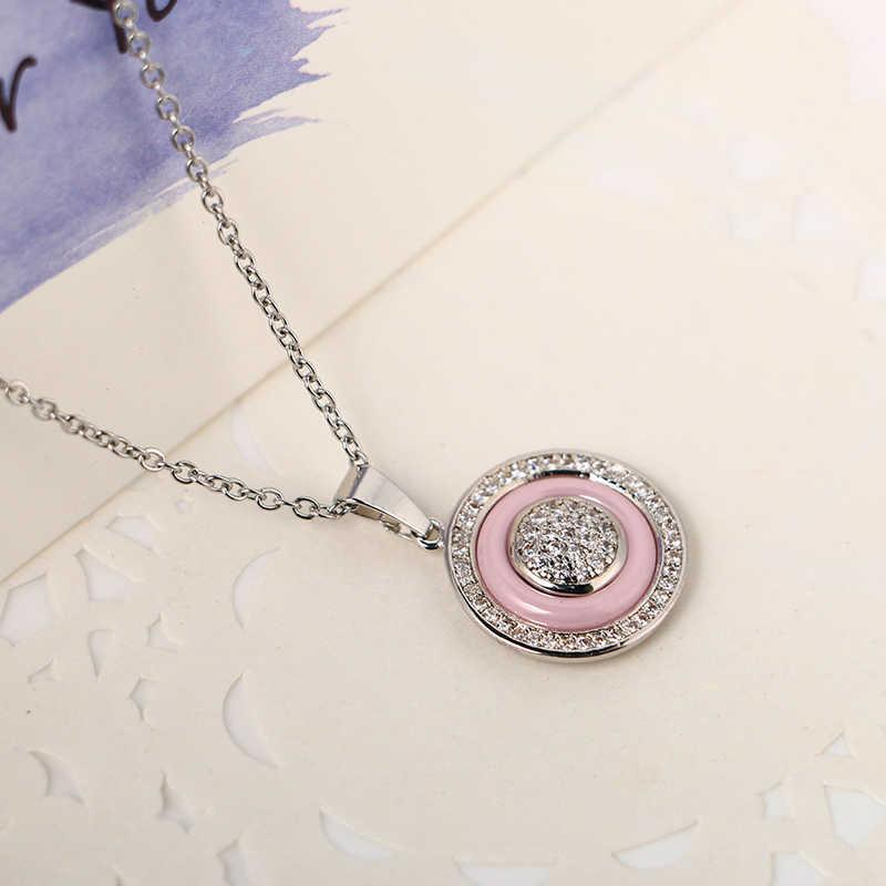 Czarny niebieski różowy stras komplet biżuterii damskiej Vintage srebrno-biały CZ kamień zdrowa biżuteria ceramiczna zestawy z darmowy łańcuszek prezent