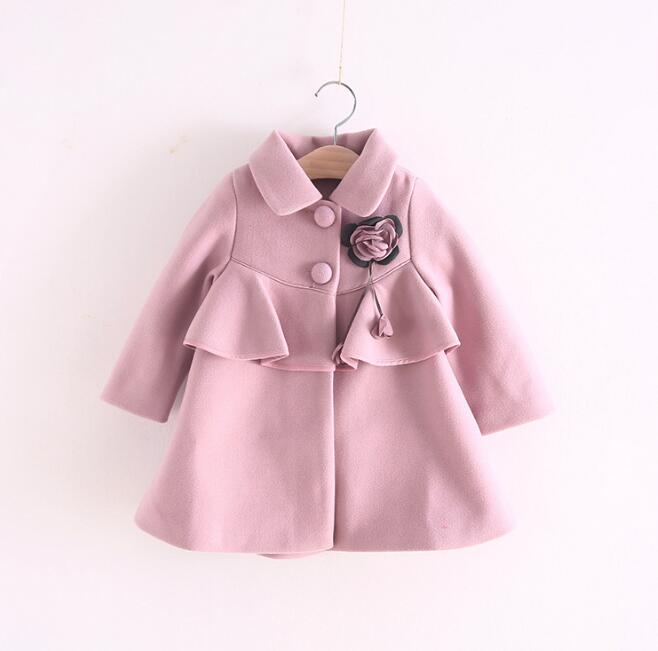 YPX092771 2017 Winter Baby Girl Coat Ruffles Fashion Solid Girl Outerwear Appliques Flower Girls Clothes baby winter outerwear
