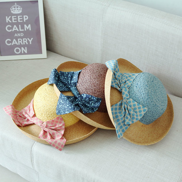 5fdc3863d19 Summer Fashion Patchwork Large Brim Rolled-up Women Straw Bucket Hat Female  Sunbonnet Beach Cap