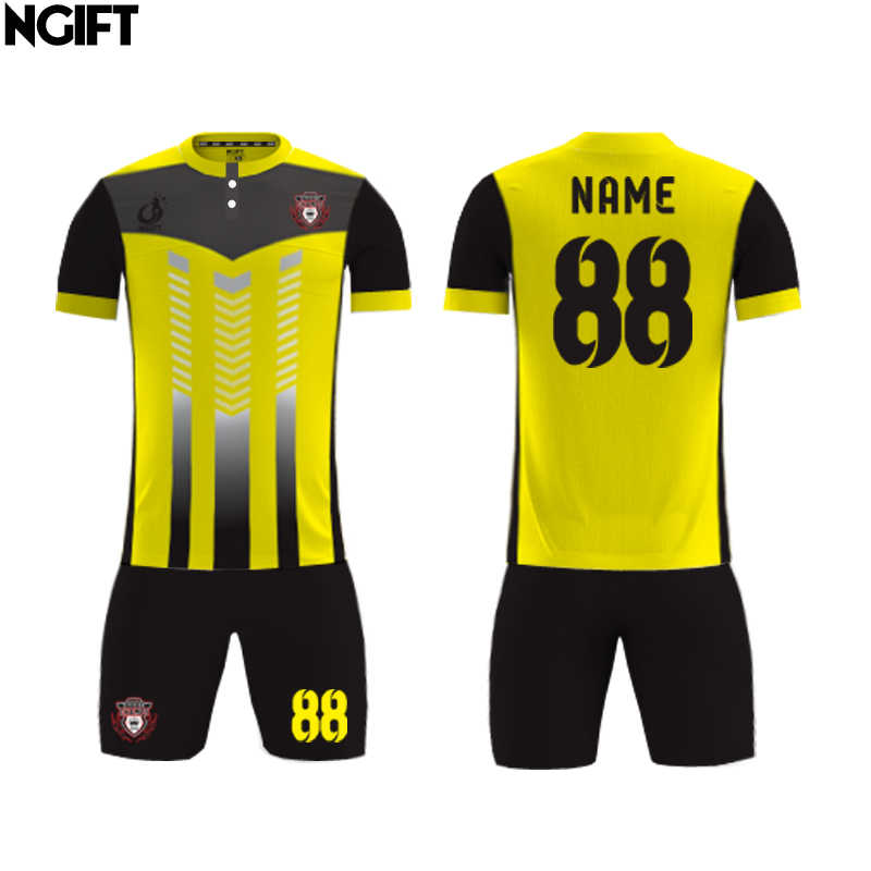 8b79c91f ... Ngift sublimated customize football jersey Yellow and Blue soccer  uniform custom soccer jersey OEM logos ...