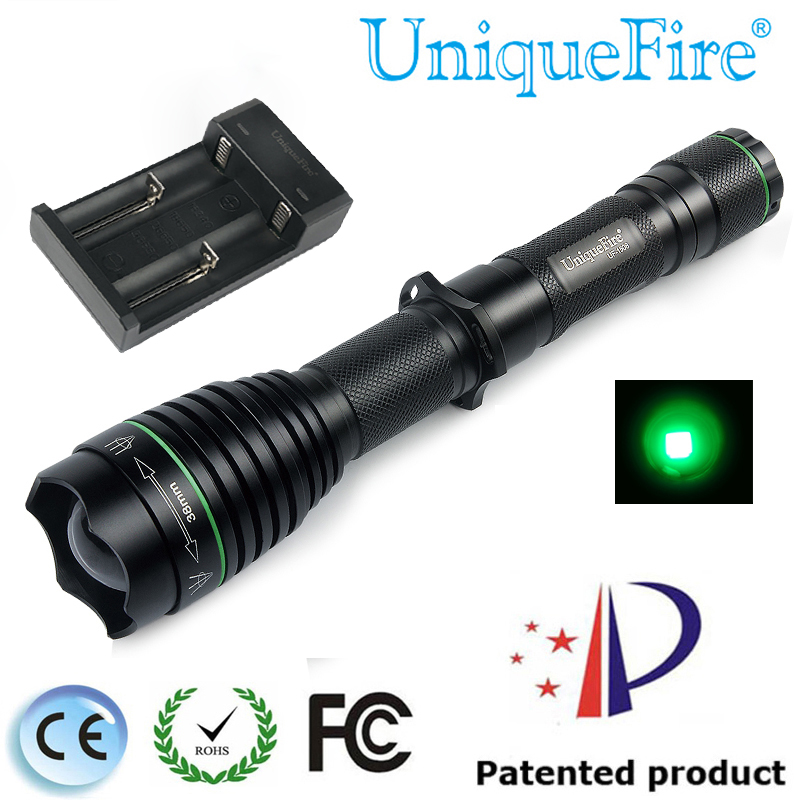 UniqueFire 1508 T38 XPE LED 240LM Tactical Flashlight 3M Green Light+Two Slot Charger Torch Lamp Light For Hunting