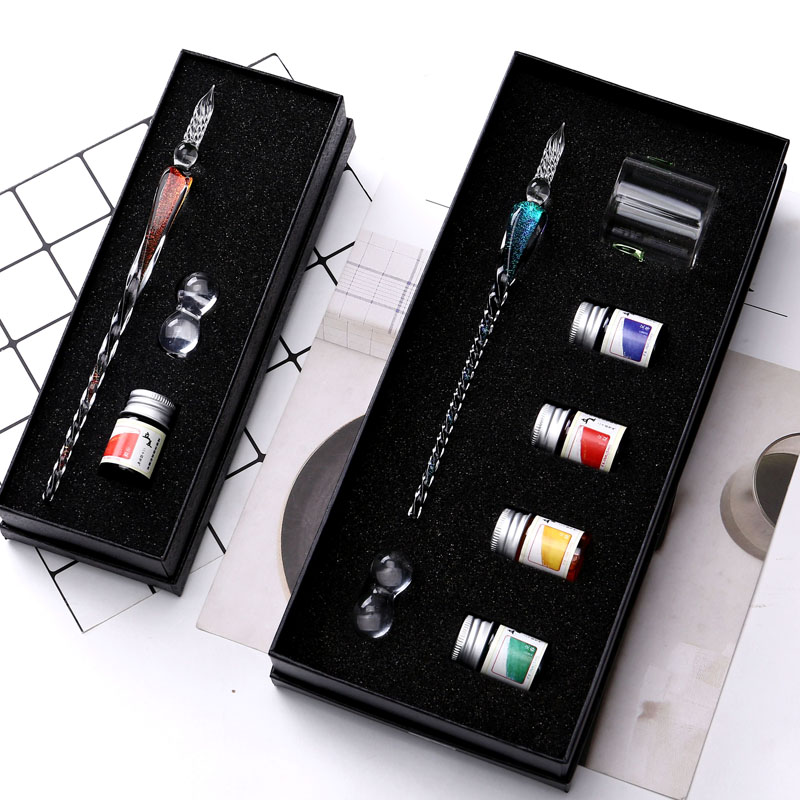 Crystal Glass Dip Pen Signature Pen Fountain Pens Bussiness Offices School Stationery Gift Set Pen + Ink Set недорго, оригинальная цена