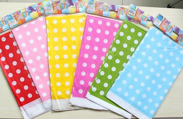 1pcs 180 108cm Plastic Table Cloth Polka Dot Cover Waterproof Disposable Tablecloth Birthday Decoration