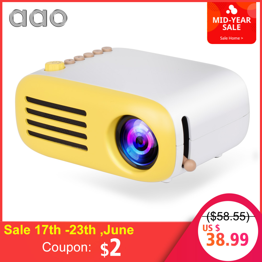 AAO YG300 YG310 Upgrade YG200 Mini LED Pocket Projector Home Beamer Kids Gift USB HDMI Video Portable Projector Optional Battery