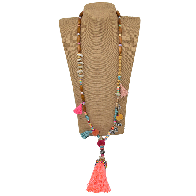 2017New Clothing accessories Bohemian ethnic beaded chains tassel Necklace colorful Pompoms long fringe Buddha Pendants Necklace