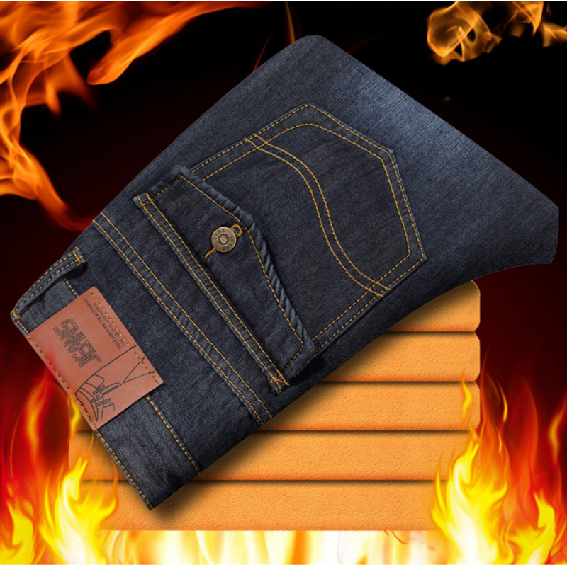 Trend Warm Jeans Men 2017 Winter Fashion Washed Cotton Fleece Mens Stretch Jeans Casual Business High Quality Denim Jeans Homme super warm fashion fleece inside men jeans high quality cotton jeans men casual straight slim mens jeans size 28 38 nzx9008