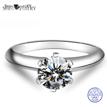 цена на ShiPei 100% 925 Sterling Silver Fine Jewelry 2ct White Sapphire Round Engagement Wedding Ring for Women Anniversary Gift