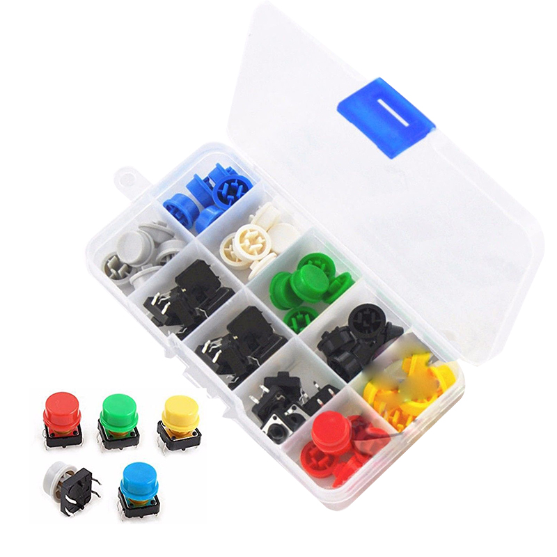 Tactile Push Button Switch Momentary Tact & Cap 12x12x7.3mm KeyCaps Assorted Kit 5pcs yellow cap right angle momentary tactile push button switch 12 x 12mm x 8mm