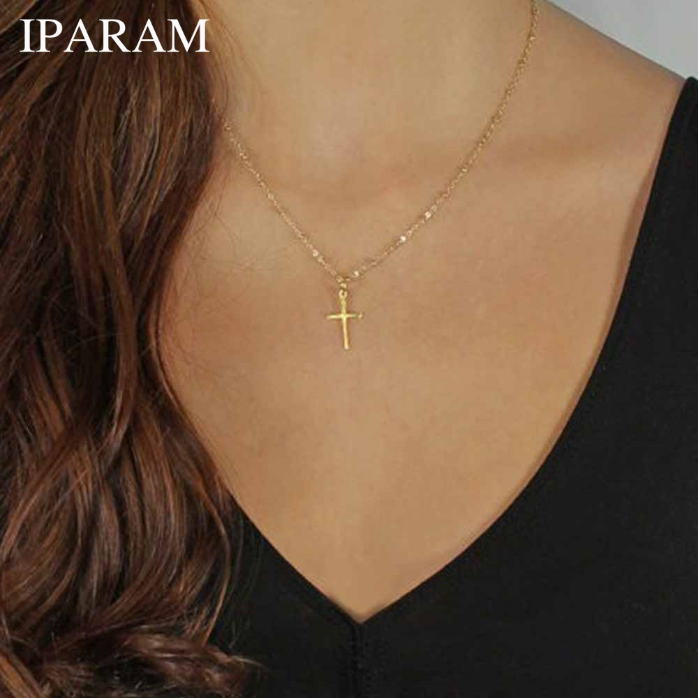 IPARAM 2019 Summer Gold Chain Cross Necklace Small Gold Cross Religious Jewelry(China)