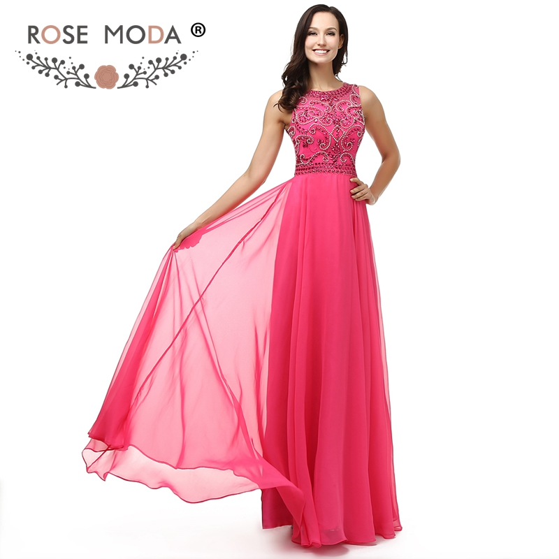 Rose Moda Crystal Beaded Hot Pink Evening Dress High Neck Sleeveless Floor Length Formal Party Dress Cut Out Back 2019