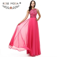 Rose Moda Crystal Beaded Hot Pink Evening Dress High Neck Sleeveless Floor Length Formal Party Dress Cut Out Back 2018