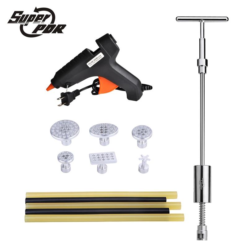 Super PDR Car dent repair Tool kit Glue Gun 2 in1 slide dent lifer metal dent glue tabs 13 pcs dent removal hand tools
