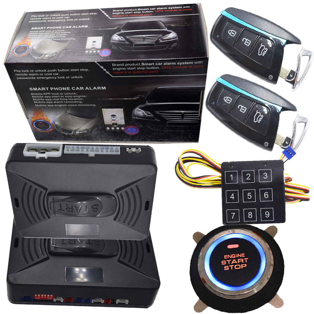 pke car alarm system with RFID auto unlock car door under the emergency status auto engine start stop system start stop engine passive car alarm with auto central lock unlock car door automotive engine start stop system gps output push engine start stop