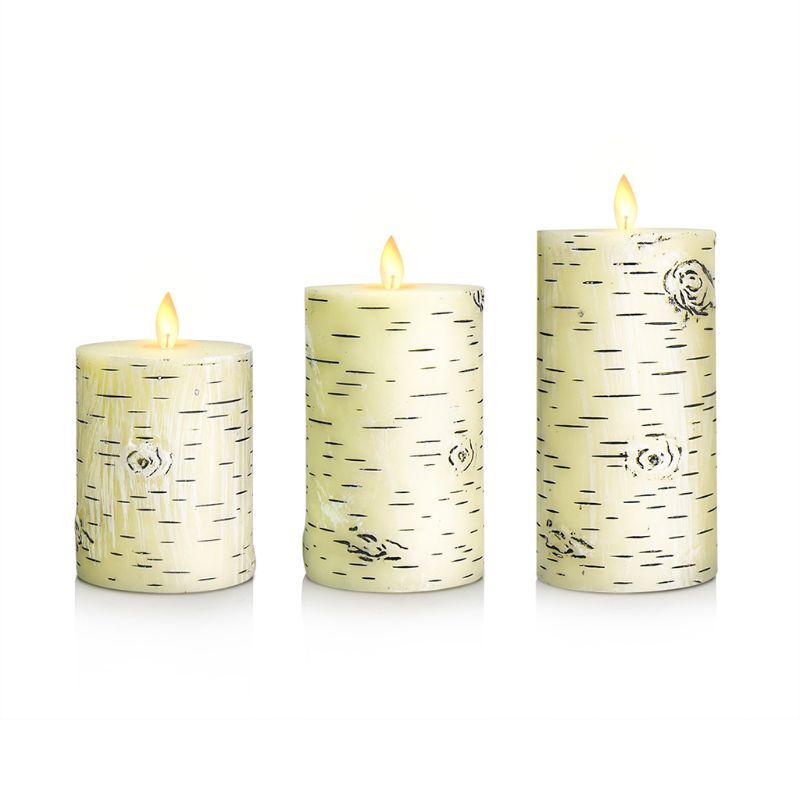 3pcs Flameless Candles Battery Operated Flickering LED Electric Tea Light Wedding Christmas White Birch Bark Decor