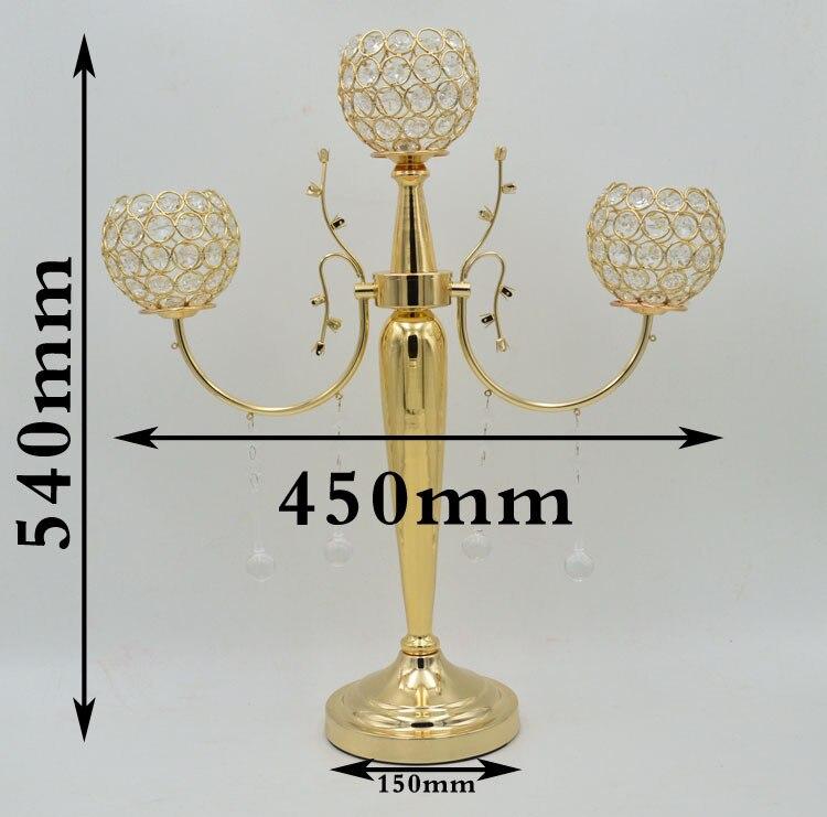Livraison gratuite de luxe or cristal candélabre cristal candélabre titulaire table de mariage pièce maîtresse 10 pcs/lot