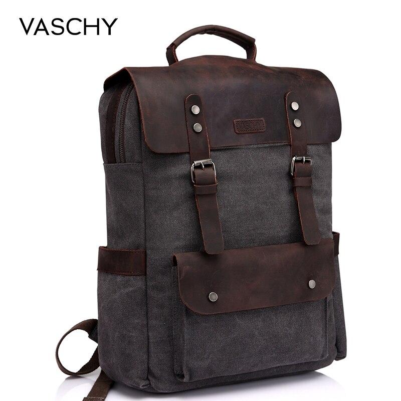 VASCHY sac à dos en cuir pour ordinateur portable voyage loisirs décontracté toile Campus école sac à dos avec 15.6 pouces compartiment pour ordinateur portable