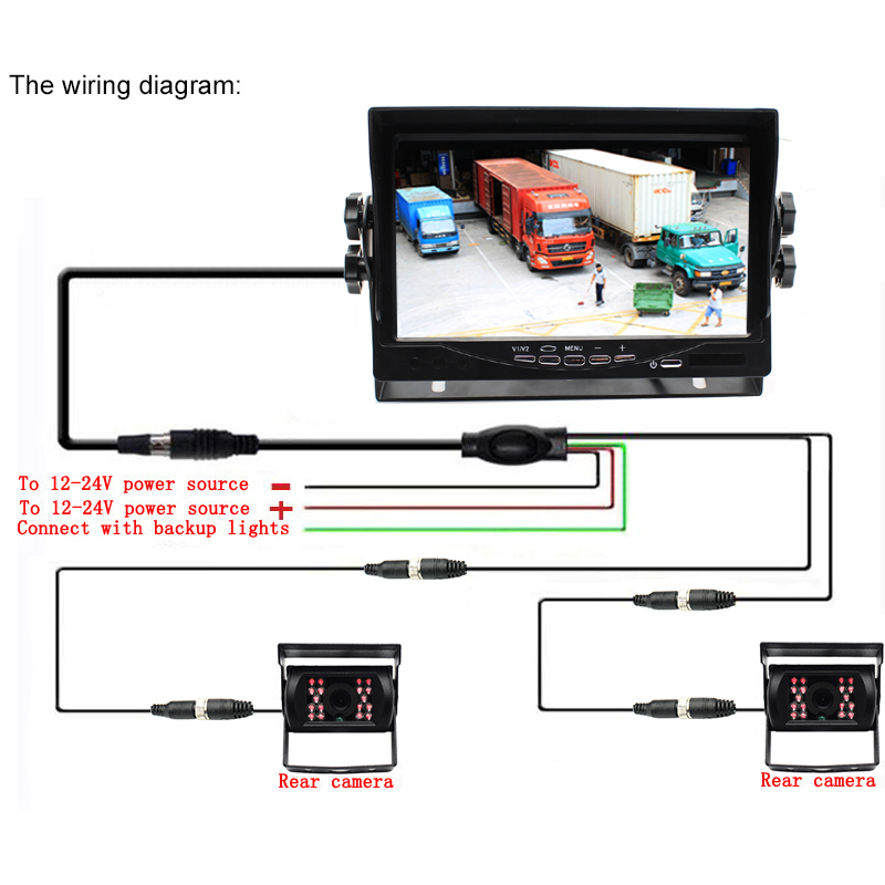 DC12~24V Truck Bus 7 Inch LCD Car Parking Monitor With Aviation joint 2 Ways Rear View Camera Video Input - 4
