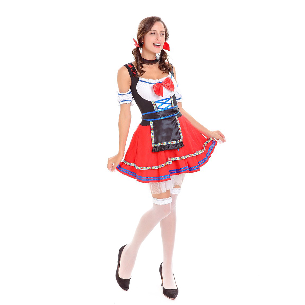 VASHEJIANG Women Germany Beer girl Fraulein Dirndl Costumes Halloween Party Festival French Maid Costumes Outfit Fancy dress