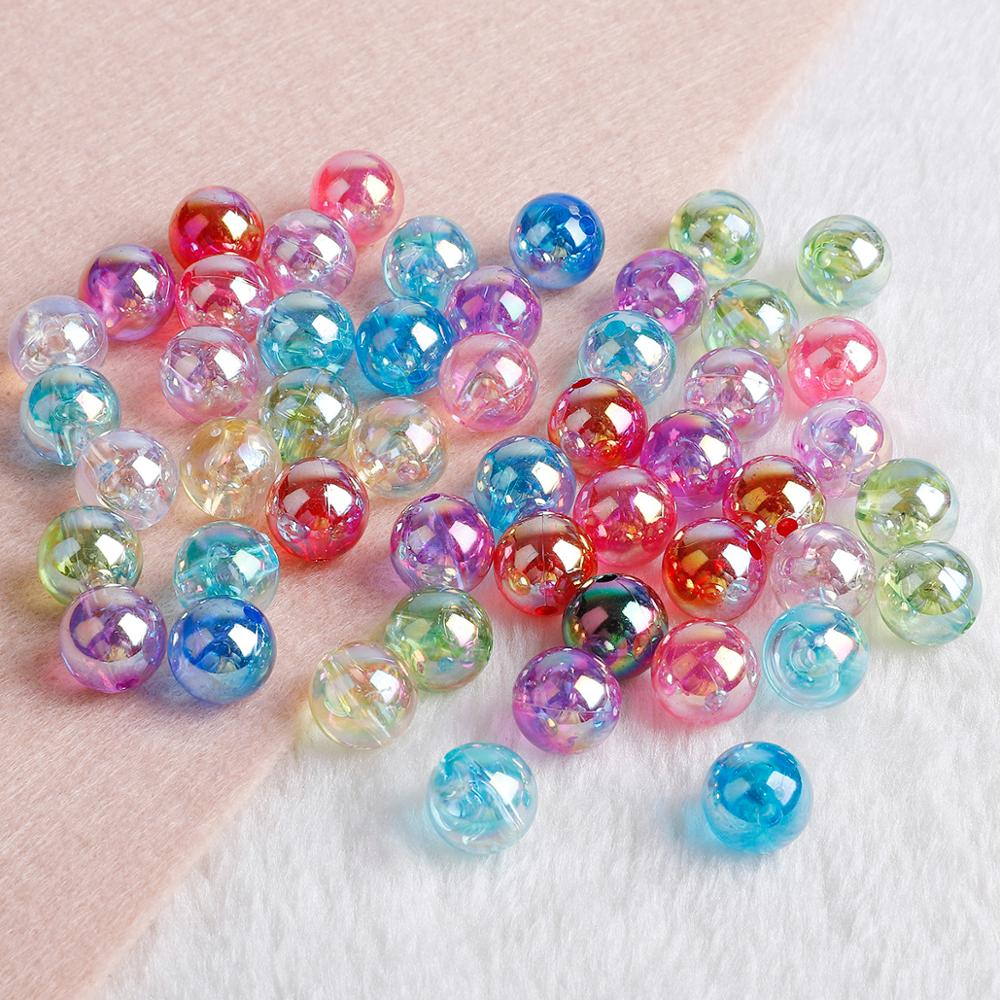 Acrylic Beads Necklace Diy Bracelet Jewelry-Making Rainbow Round Ab-Color 8mm 10mm 6mm