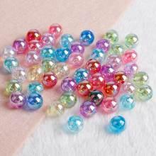 6mm 8mm 10mm arco-íris ab cor acrílico grânulos redondos soltos para fazer jóias diy pulseira colar