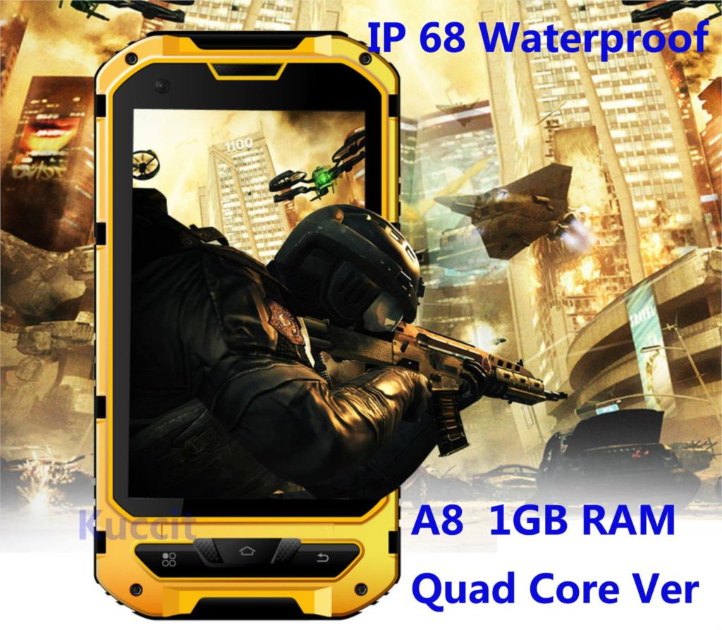 IP68 Rugged Android Waterproof Smartphone unlocked cell phone A8 MTK6582 Quad Core 2GB RAM Senior shockproof