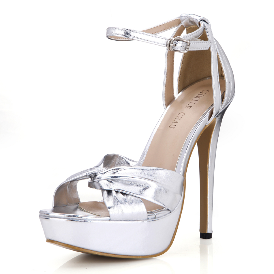 CHMILE CHAU Silver Metallic PU Sexy Party Women Shoes Open Toe Stiletto High Heel Ankle Strap Platform Buckle Sandals 3463SL-b3
