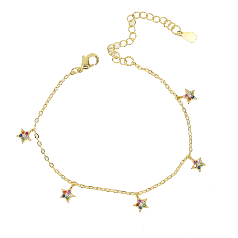 New women Lady Girls Bangle Simple Gold Filled Chic Trendy Stars Fine Chain Bracelet Cuff Jewelry Party