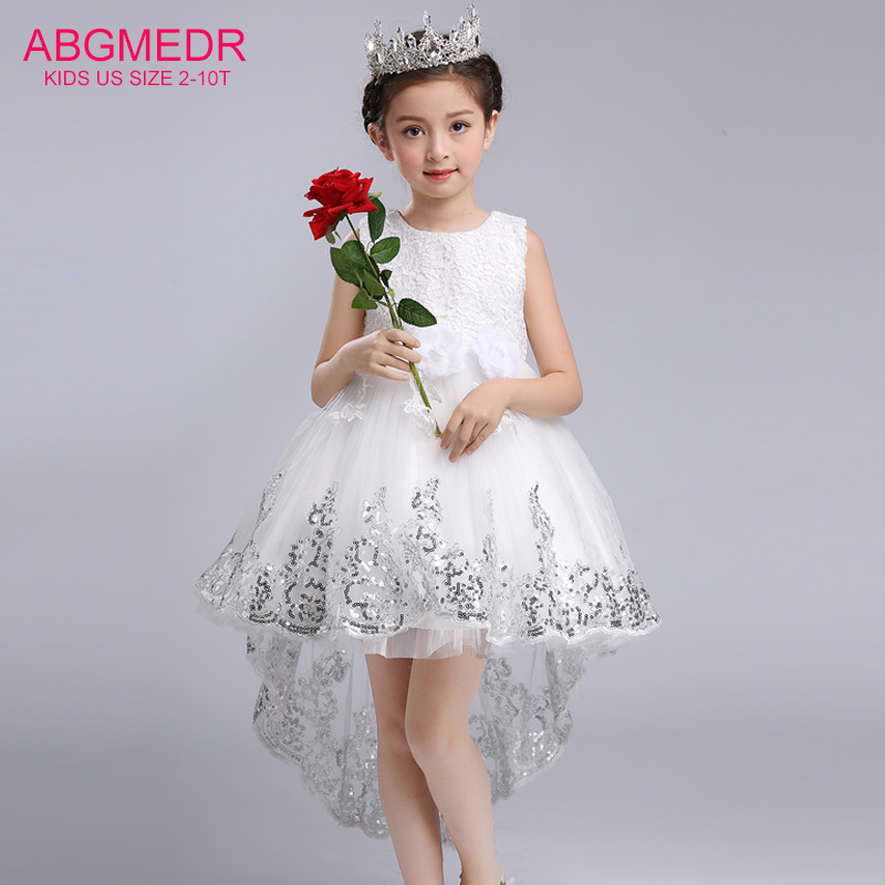 2017 Girls High Low Dresses for Wedding and Party Children Sequin Dress with Tails Monsoon Kids Handmade Flowers Costume Clothes