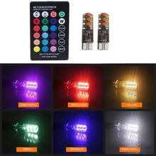 2018 New Universal Car RGB Led W5W T10 RGB COB 12SMD Clearance lights Colorful Multi Mode Car Light Bulbs With Remote Controller