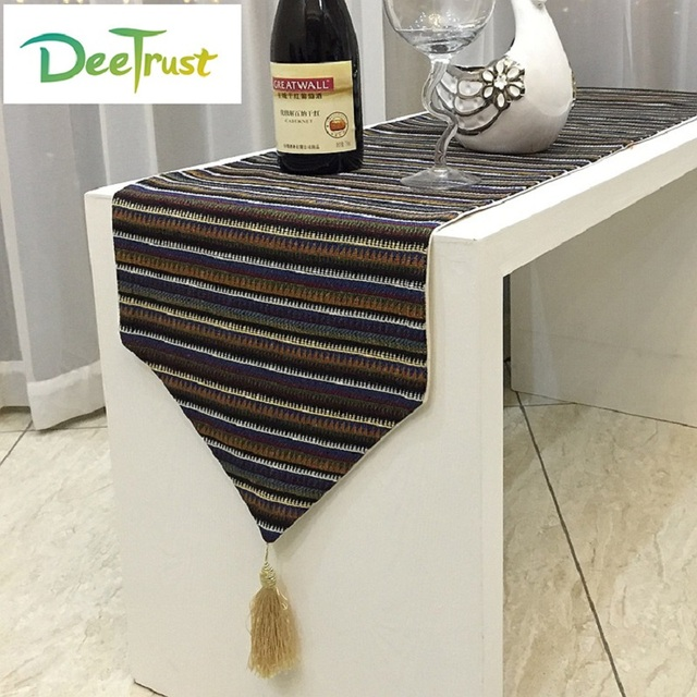 Vintage National Style Cotton U0026 Linen Striped Table Runners Luxury  Tablecloth Wedding Table Cover Wedding Decoration