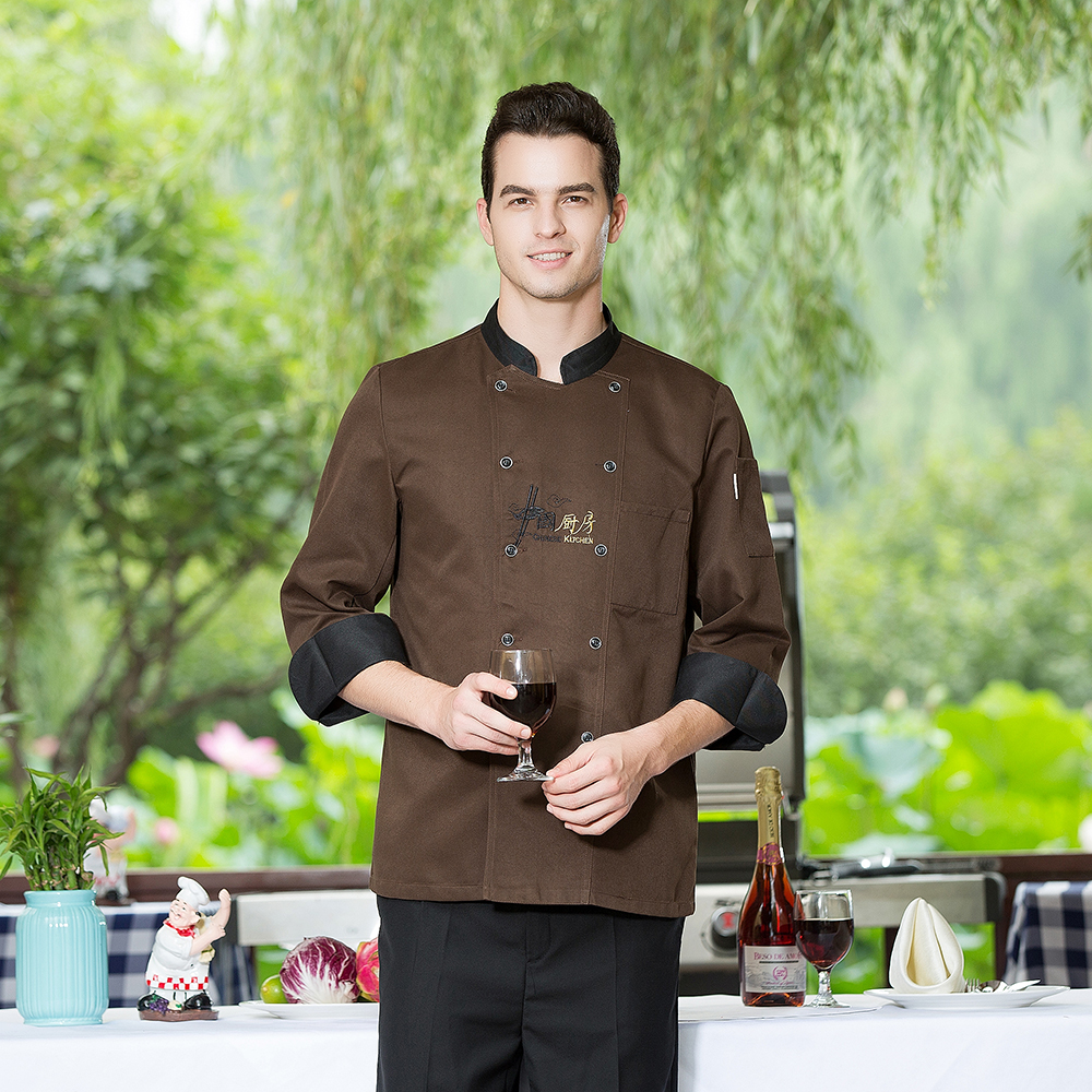 Embroidery Stand Collar Chinese Restaurant Kitchen Chef Coat Long Sleeve Double-breasted Work Wear Chef Jacket & Apron Wholesale
