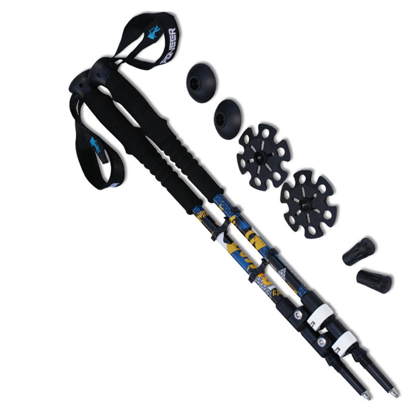 2pcs lot 1 pair 7075 Aluminum Hiking Stick Nordic Walking Stick Outdoor Telescopic Handle Climbing Equipment