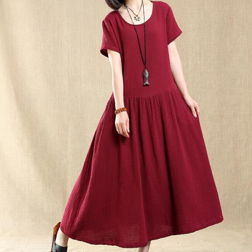 2295a6dae5dc New 2018 Original vintage loose solid cotton linen dress for female Autumn  long gown striped dress plus size 5XL 6XL dresses