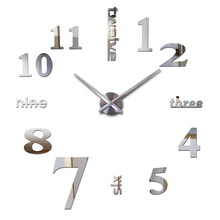 free shipping 2016 large wall clock acrylic mirror diy clocks home decor living room wall stickers modern watch quartz hot sale