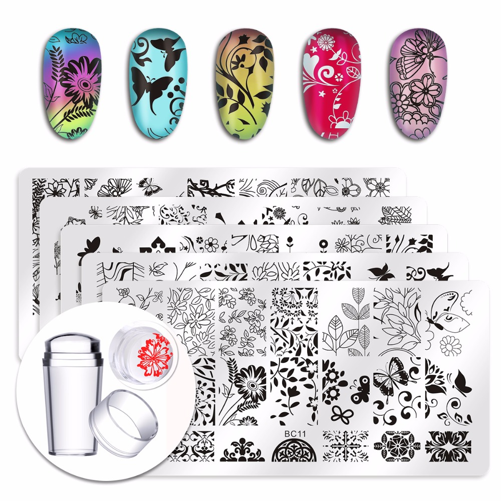 5Pcs New Flower Leaves Forest Image Plates Nail Stamping Plates  Clear Jelly Silicone Nail Art Stamper Scraper with Cap