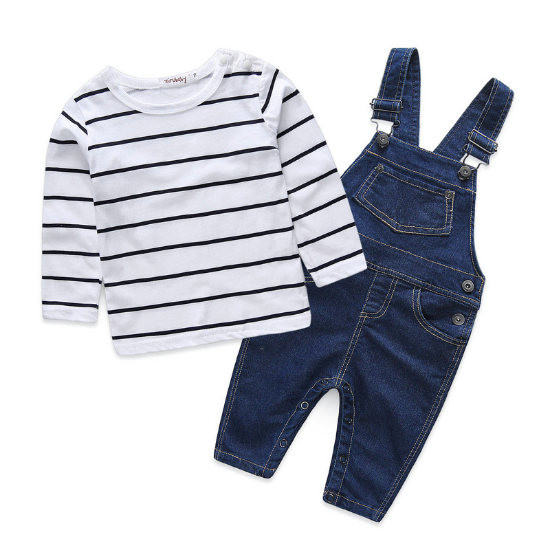 XIRUBABY Boys Set Jeans Newborn Clothing Autumn Baby Clothes O-Neck Striped Casual Kids Suits T-shirt+Denim overalls 0-2Years